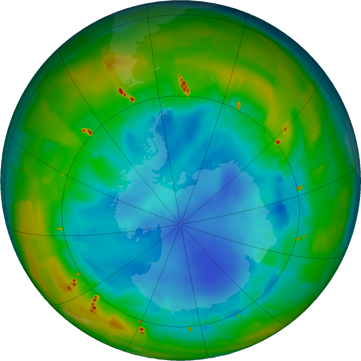 Antarctic ozone map for 06 August 2011